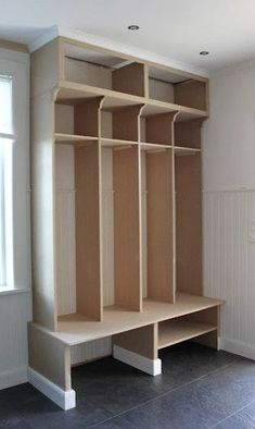 Built in shelves. For the garage possibly? Built in shelves… For the garage possibly? Bench With Storage, Built In Shelves, Room Shelves, Home Renovation, Home Remodeling, Hallway Storage, Porch Storage, Mudroom, Home Projects