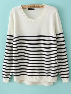 White Long Sleeve Striped Buttons Sweater