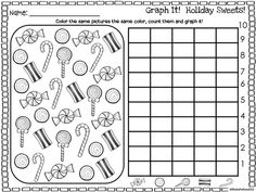 Graph it! Kids LOVE doing these! They're perfect for centers homework morning work independent practice early finishers or time fillers! Christmas Math Worksheets, Preschool Christmas, Kindergarten Worksheets, In Kindergarten, Christmas Printables, Multiplication Worksheets, Art Worksheets, Christmas Candy, Xmas