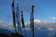 Buddhist Prayer Flags waving in the Mountain Winds of Nepal