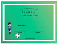 Fans of table football will appreciate this printable certificate of achievement in foosball. Free to download and print