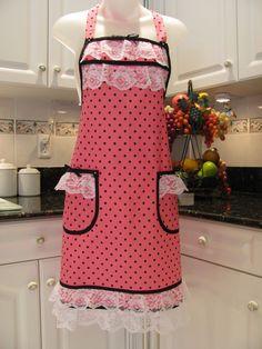 Hot pink Polka Dot full apron with black