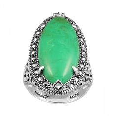 Pre-owned Sterling Silver Ring Set With Chrysoprase & Marcasite ($120) ❤ liked on Polyvore featuring jewelry, rings, sterling silver marcasite jewelry, chrysoprase jewelry, preowned rings, sterling silver jewellery and sterling silver rings