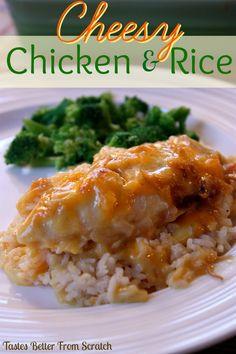 Cheesy Chicken and Rice Casserole on MyRecipeMagic.com #chicken #casserole #cheesy