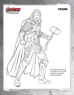 free printable marvel avengers thor coloring page
