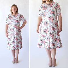 How to make an easy swing dress using a free tee shirt pattern. How to sew a women's summer dress.