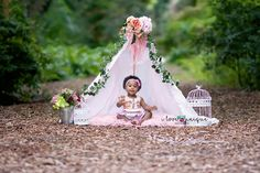 Baby girl photoshoot cute girl picture ideas teepee flowers flower pot Forest Park faux fur Birdcage photo props 11 month old Fort Lauderdale Broward Miami Palm Beach County photographer I love unique photography https://www.facebook.com/myphotographyisunique/
