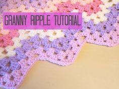 ▶ EASY crochet pretty puff stitch flower blanket - flower granny square tutorial - YouTube