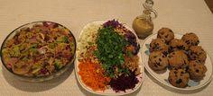 Lamony broccoli, mushrooms, and barley; rainbow salad; lemony blueberry muffins.  All recipes from upcoming Vila SpiderHawk cookbooks.