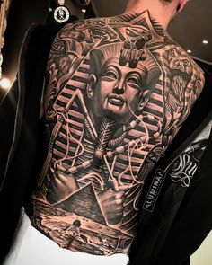 egyptian back tattoo Back Tattoos For Guys, Full Back Tattoos, Full Body Tattoo, Body Tattoos, Sleeve Tattoos, Hand Tattoos, Script Tattoos, Flower Tattoos, Tatoos