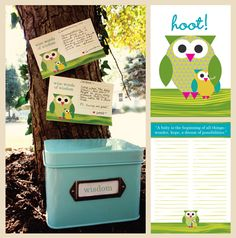 Owl Baby Shower Printables set!  Really cute!
