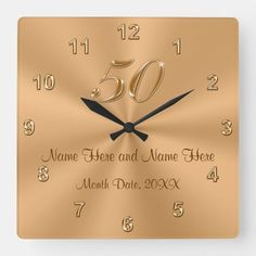 Personalized Golden Wedding Anniversary Gift Clock | Zazzle.com#anniversary #clock #gift #golden #personalized #wedding #zazzlecom Golden Wedding Anniversary Gifts, Anniversary Clock, Anniversary Message, Homemade Anniversary Gifts, Anniversary Gifts For Parents, Anniversary Dates, Happy Anniversary, Wedding Gifts, Diy Gifts For Boyfriend