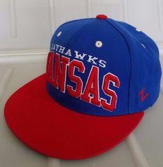 Blue Kansas Jayhawks KU NCAA Authentic Zephyr Cap Flat Bill Snapback Hat   Zephyr  KansasJayhawks 583faf969fba
