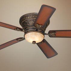 52 Casa Vieja Ancestry™ Hugger Ceiling Fan with light kit takes to 50 watt bulbs included.