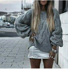 Модный свитер спицами узором из кос. Женский свитер с косами спицами схемы
