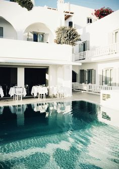 Mykonos Grace hotel (what a beautiful pool) ~ striped off-the-shoulder top and denim shorts ~ lazy lunch al fresco … happy days x debra 1,2 by sincerely, jules, 3 by eirin kristiansen   Dust Jacket on Bloglovin'