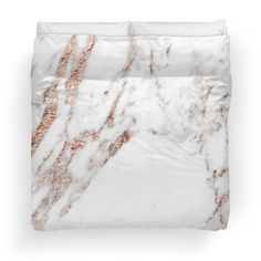 Rose gold vein marble duvet cover on Redbubble by Peggieprints. A modern gray and white marble with rose gold glitter veining throughout. Metallic and glitter effect.