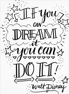 Elizabeth Caldwell 'Dream It Do It' Canvas Art - 24 x 32 art quotes Trademark Global Elizabeth Caldwell 'Dream It Do It' Canvas Art - 24 Bullet Journal Quotes, Bullet Journal Ideas Pages, Bullet Journal Inspiration, Calligraphy Quotes Doodles, Doodle Quotes, Hand Lettering Quotes, Brush Lettering, Fonts Quotes, Dream It Do It