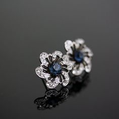 Blue Bridal earrings rhinestone Flower Wedding Earrings Stud earrings Something Blue Wedding Jewelry SABINE POST.