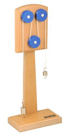 - This wooden machine has a sturdy wooden construction ideal for classroom use - This apparatus can model how the use of several pulleys increases one's mechanical advantage - Students can use this bo