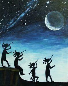 Kokopelli Music Moon Native American theme blue night by kathatart
