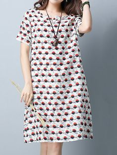 Casual Women Polka Dot Printed Short Sleeve Dress