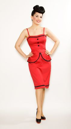 Red & Black Sergeant Pucker Suit Wiggle Dress