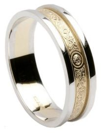 Gold Celtic Warrior Wedding Ring with White Gold Rims