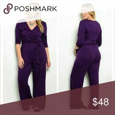 Violetta Jumpsuit Fabric: 65% RAYON 35% VISCOSE  Knit jumpsuit features v-neckline, 3/4 sleeves, wide-legged fit and tie-able closure. Pants Jumpsuits & Rompers