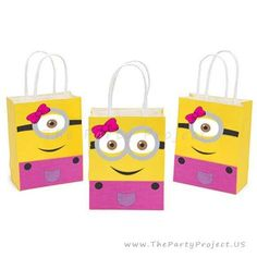 Whether you are planning a Minions birthday or a Despicable Me themed baby shower or party, these adorable Girly Minion printable favor bag decorations featuring yellow and Evil Minions will make your special celebration stand out!