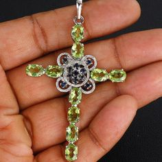 8-00-GMS-Exquisite-Luxurious-Natural-Peridot-925-Sterling-Silver-Pendant-61MM