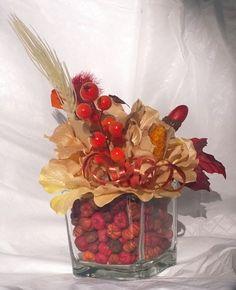 Autumn Harvest Golden Hydrangea Glass Cube by FantasyFloralsbyKay Hydrangea Flower, Flowers, Glass Cube, Harvest Decorations, Autumn Harvest, Potpourri, Floral Arrangements, Berries, Vase