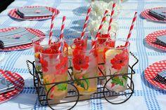 4th of July BBQ Red White Blue Striped Straws Lemonade