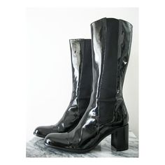 vtg  BLACK PATENT Leather BOOTS by Free Lance  size by goodnessyes, $69.00