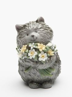 Grey Cat with Flowers Ceramic Figurine