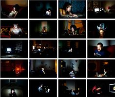 Bloggers. Portraits of people lit up by their computers