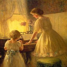 Woman Playing Piano Painting | -the-little-girl-playing-piano-with-mother-of-children-oil-paintings ...