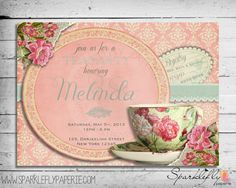 Free vintage tea party invitation template the big 1 0 pinterest vintage tea cup invitation for bridal shower baby shower birthday party diy printable filmwisefo
