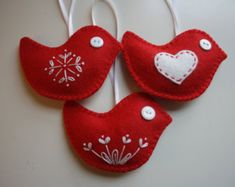 Red Felt Bird  Christmas Ornaments - Set of 3