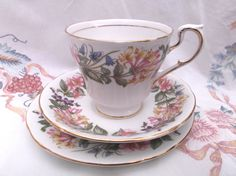 Paragon 'Country Lane' tea cup, saucer and plate - tea set trio . Ideal for vintage wedding, tea shop, display or use. by SwallowCAntiques on Etsy