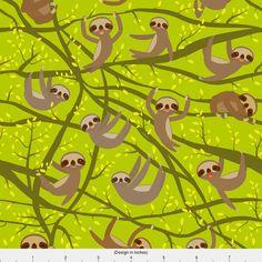 Kawai Sloth Fabric - Kawai Sloth Set On A Branch, Yellow, Brown, Green By Ekaterinap - Kawai Cotton Fabric by the Yard With Spoonflower