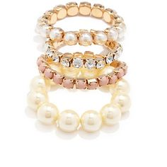 Forever 21 Faux Pearl Bracelet Set ($13) ❤ liked on Polyvore featuring jewelry, bracelets, pandora jewelry, bracelet sets, forever 21 jewelry, womens jewellery and wrap bracelet