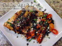 Basil Cotija Stuffed Chicken with Honey Balsamic Glaze   Barr & Table