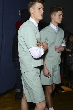 Lukas Katinas and Matt Woodhouse backstage at DSquared2 via http://www.dailymalemodels.com
