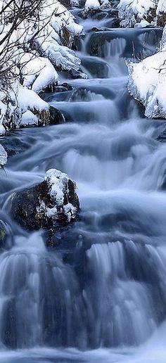 WINTER WONDERLAND -- snow ice creek white blue    #by marres11 ---   youramazingplaces. com/ bzw.  seasonsschange.tumblr.com