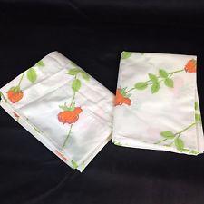 VTG Pair 2 Pillowcases Dior Wamsutta Orange Rose Percale Retro Flower Floral 70s