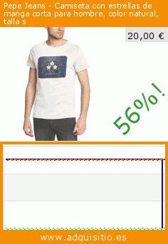 Pepe Jeans - Camiseta con estrellas de manga corta para hombre, color natural, talla s (Ropa). Baja 56%! Precio actual 20,00 €, el precio anterior fue de 45,00 €. https://www.adquisitio.es/pepe-jeans/camiseta-estrellas-manga-9