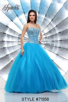 Blue Sparkled Ball Gown Prom Dress