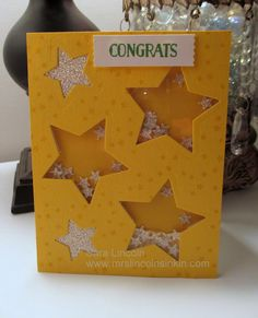 Hi stampin' friends! Lincoln's Inkin' and today's card share. Today I am sharing a shaker card with you that uses Da. Shaker Cards, I Card, Stampin Up, Stars, Projects, Foil Stamping, Blue Prints, Stamping Up, Sterne