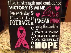 Craft Vinyl on a Ceramic Tile.  Breast Cancer Survivor.